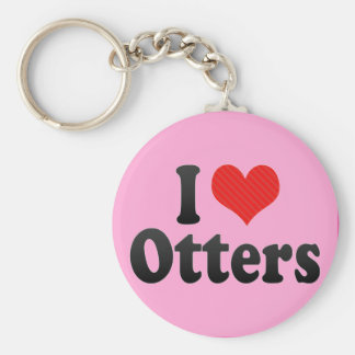 I Love Otters Key Ring