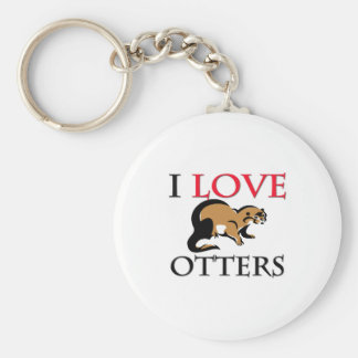 I Love Otters Key Ring