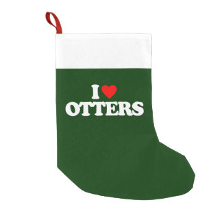 I LOVE OTTERS SMALL CHRISTMAS STOCKING