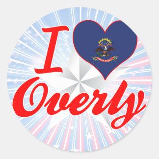 I Love Overly, North Dakota Round Stickers