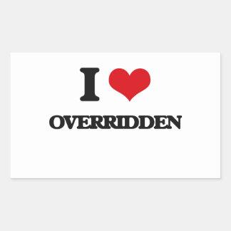 I Love Overridden Rectangular Sticker
