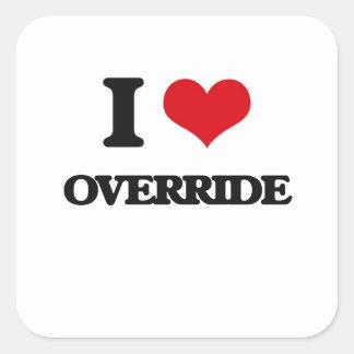 I Love Override Square Stickers