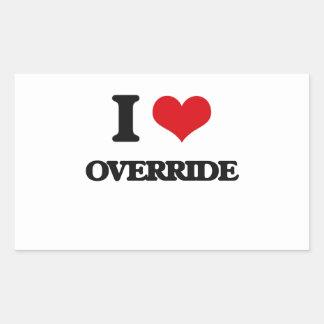 I Love Override Rectangle Sticker