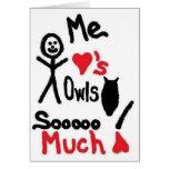 I Love Owls Cartoon Cards