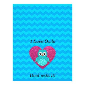 I love owls deal with it blue chevrons 21.5 cm x 28 cm flyer