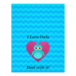 I love owls deal with it blue chevrons flyer