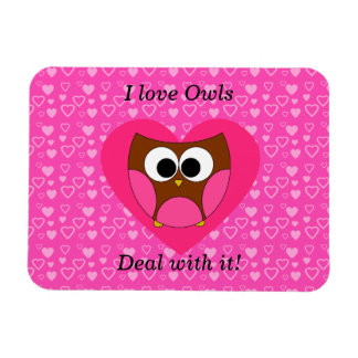 I love owls deal with it rectangular photo magnet