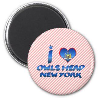 I love Owls Head, New York 6 Cm Round Magnet