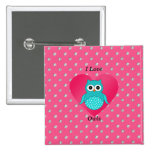 I love owls pink diamonds button