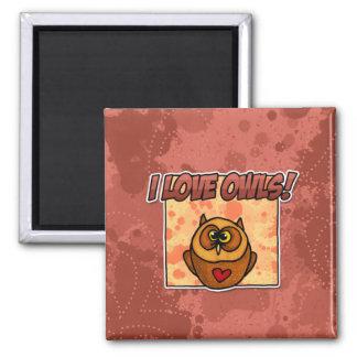 i love owls square magnet