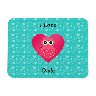 I love owls turquoise hearts rectangle magnets