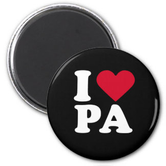 I LOVE PA 6 CM ROUND MAGNET