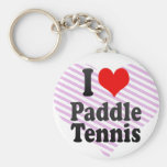 I love Paddle Tennis Basic Round Button Key Ring
