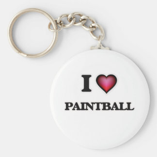 I Love Paintball Basic Round Button Key Ring
