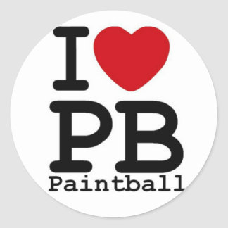 I Love Paintball Classic Round Sticker