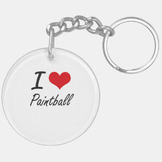 I love Paintball Double-Sided Round Acrylic Key Ring