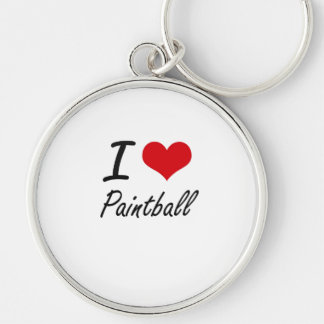 I love Paintball Silver-Colored Round Key Ring