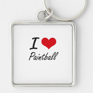 I love Paintball Silver-Colored Square Key Ring