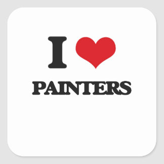 I Love Painters Square Stickers