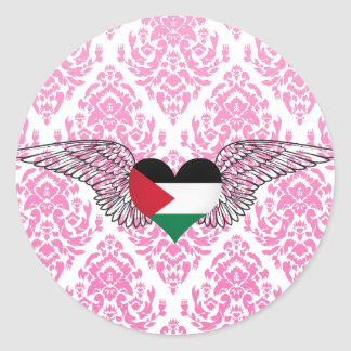 I Love Palestine -wings Classic Round Sticker