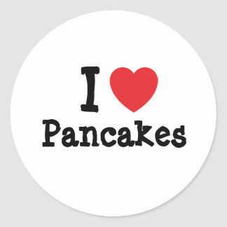 I love Pancakes heart T-Shirt Round Sticker