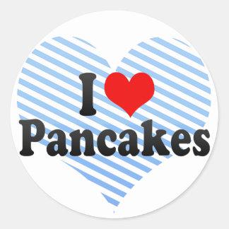 I Love Pancakes Round Sticker