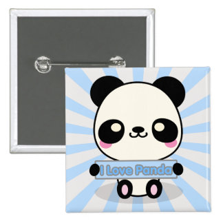 I Love Panda 15 Cm Square Badge