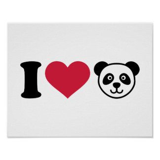 I love Panda Bear Poster