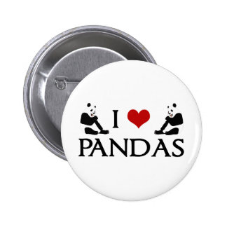 I Love Panda Bears Cute 6 Cm Round Badge