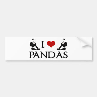 I Love Panda Bears Cute Bumper Sticker