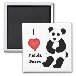 I Love Panda Bears Square Magnet