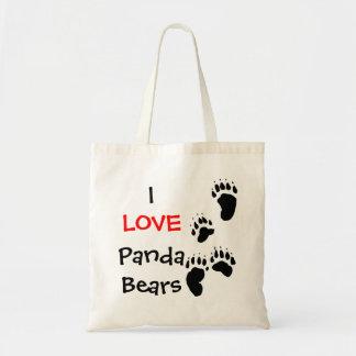 I love panda bears budget tote bag