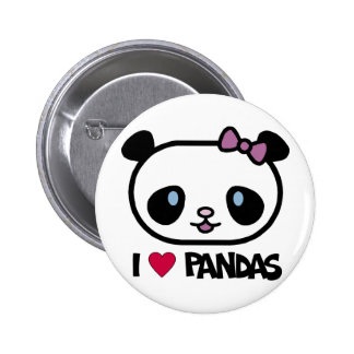 I Love Pandas 6 Cm Round Badge