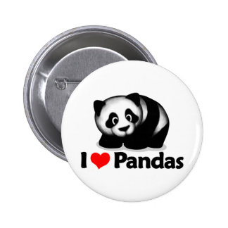 I Love Pandas 6 Cm Round Badge
