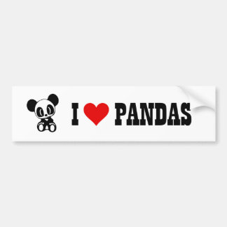 I Love Pandas Bumper Sticker