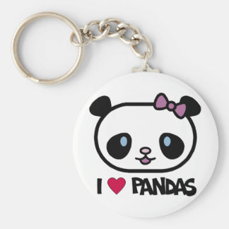 I Love Pandas Key Ring