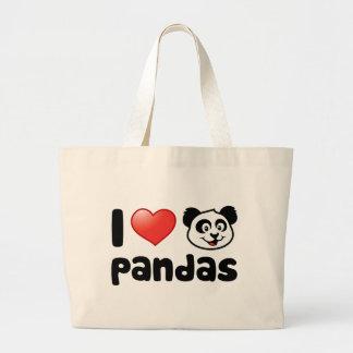 I Love Pandas Large Tote Bag