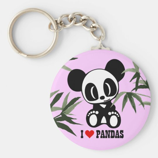 I Love Pandas - Pink Basic Round Button Key Ring