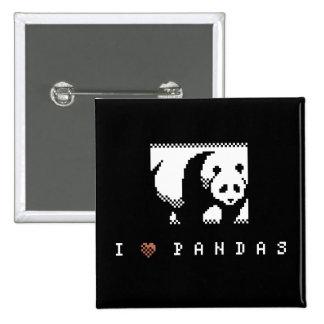 I Love Pandas Pixel Art Button