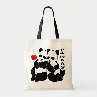 I Love Pandas Tote Bag