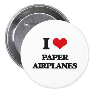 I Love Paper Airplanes 7.5 Cm Round Badge