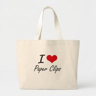 I Love Paper Clips Jumbo Tote Bag