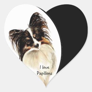 I love Papillons Dog, Pet with Heart Heart Sticker