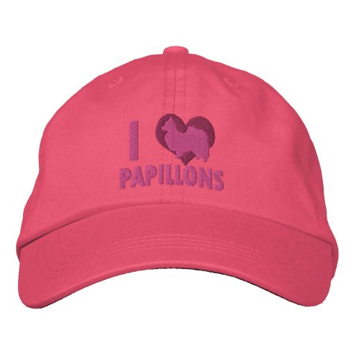 I Love Papillons Embroidered Hat (Pink)