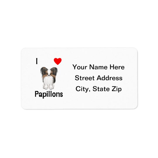 I Love Papillons (picture) Address Label
