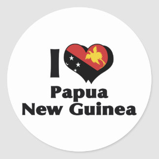 I Love Papua New Guinea Flag Classic Round Sticker