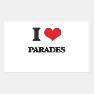 I Love Parades Rectangle Stickers
