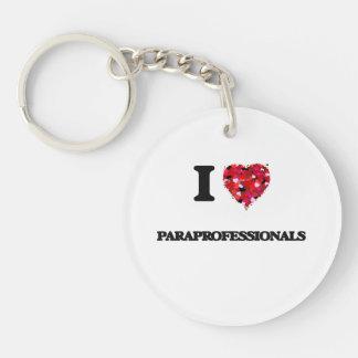 I Love Paraprofessionals Single-Sided Round Acrylic Key Ring