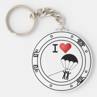 I Love Parasailing Basic Round Button Key Ring