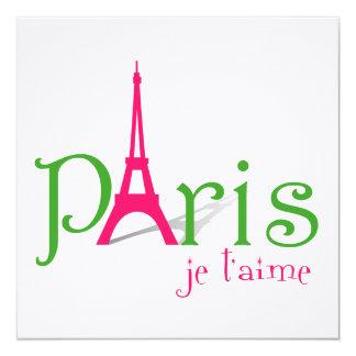I love Paris 13 Cm X 13 Cm Square Invitation Card